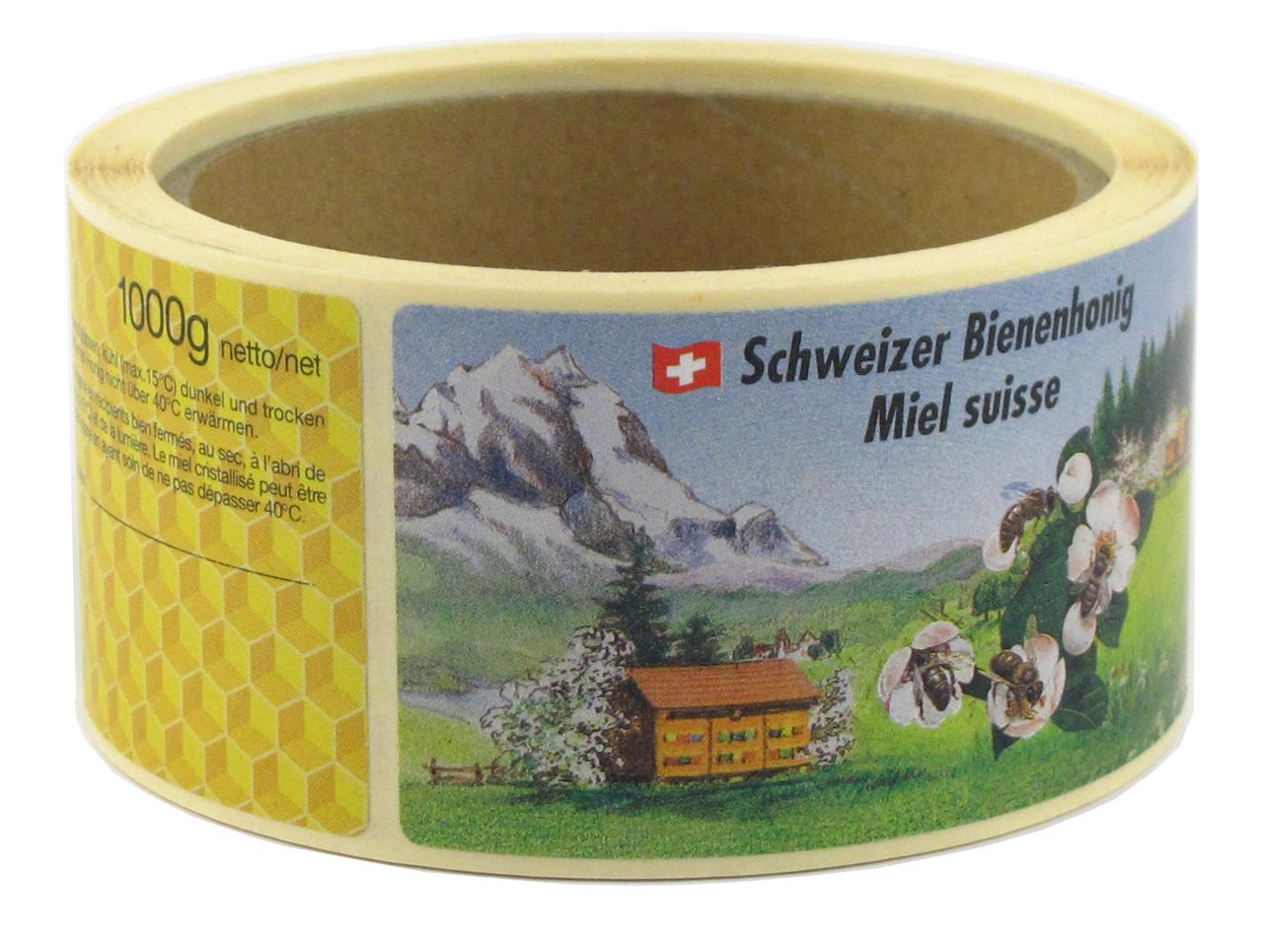 Schweizer Honig Etiketten auf Rollen 1000 g