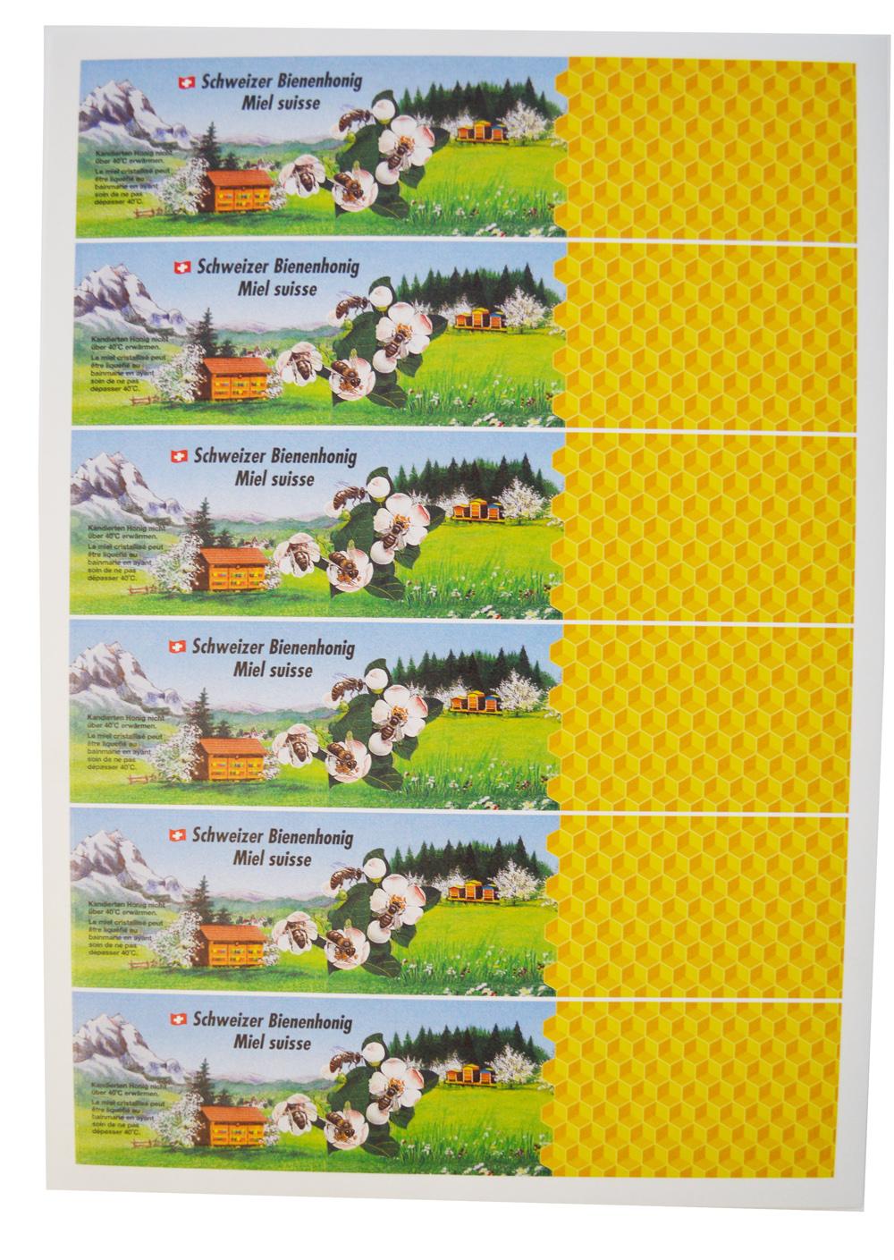 """A4 Etikette """"Schweizer Bienenhonig"""""""