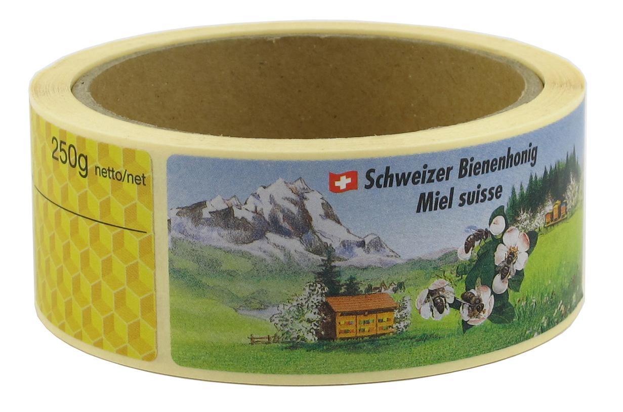 Schweizer Honig Etiketten auf Rollen 250 g
